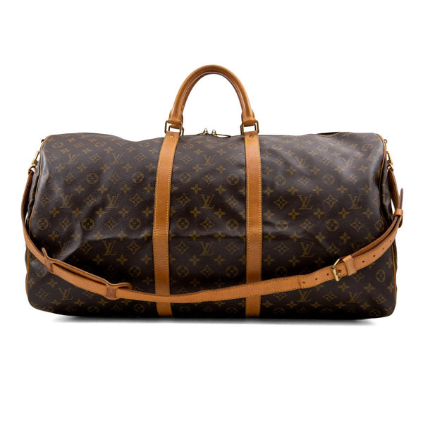 LOUIS VUITTON Monogram Canvas Keepall 60 Bag with Strap