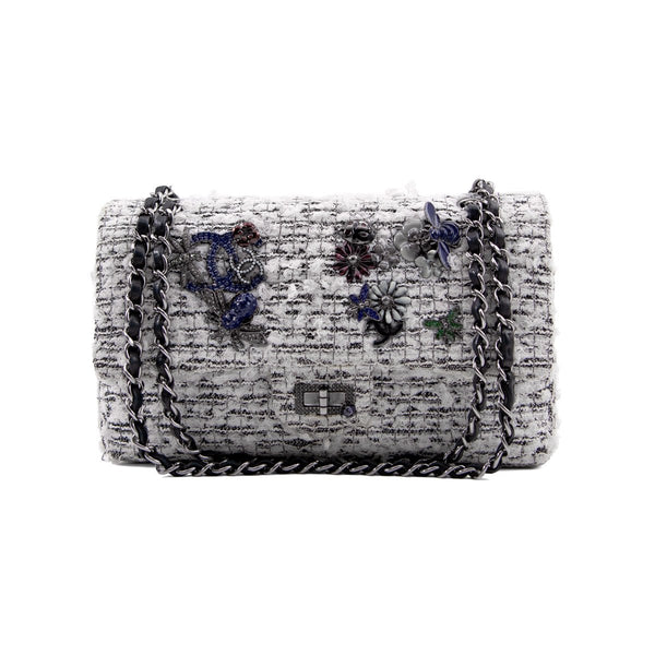 CHANEL White Quilted Tweed Garden Charms 2.55 Reissue Flap Bag