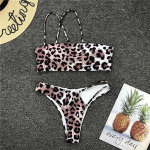 One shoulder thong bikini set