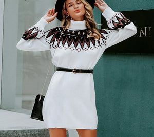 Geometric print knitted dress