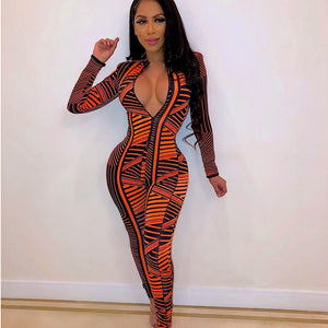 Print Front Zipper Bodycon Jumpsuit