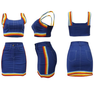 Rainbow Skirt Strap Crop Tops Denim Sets