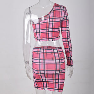 Sexy Plaid Print Two Piece Set