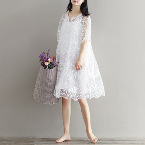 Lace Embroidery Maternity Dress