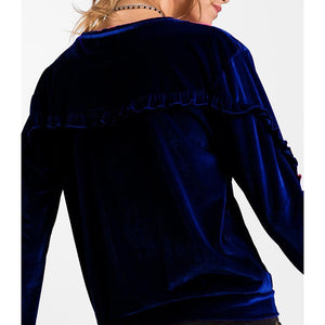 Velvet Long Ruffles Sleeve Sweatshirt