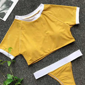 Short Sleeve Two Pieces Bikini Set