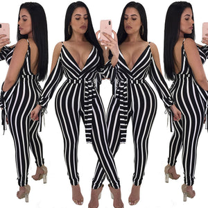 Striped Long Backless Jumpsuit