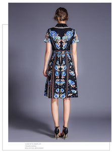 Fashion Print Turn-down Collar Dress