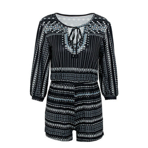 Sexy Long Sleeve V Neck Playsuit