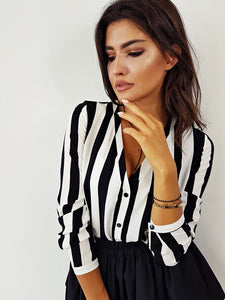 Striped Printed Long Sleeve Shirt