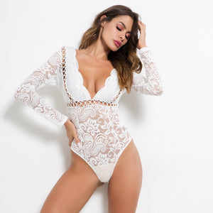 Long Sleeve Mesh Lace Bodysuit
