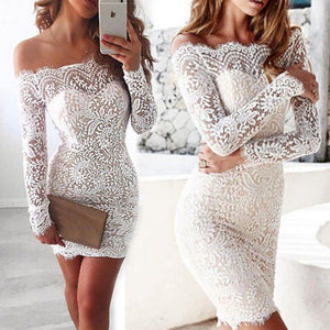 Elegant Lace Floral Off Shoulder Dress