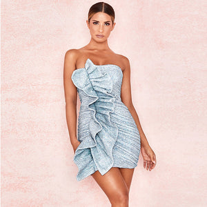 Sequins Strapless Mini Ruffled Dress