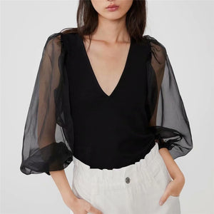 Deep V Neck Black Blouse