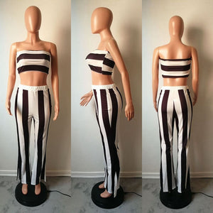 Two Pieces Striped Set