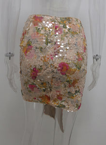 Stretch Sequined Draped Skirt
