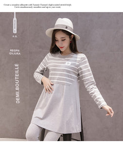 Striped Patchwork A Line Loose T shirts