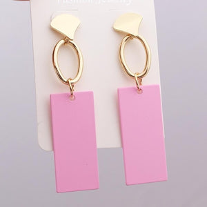 Square Round Geometric Earrings