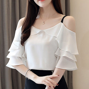 Tops and chiffon short blouses