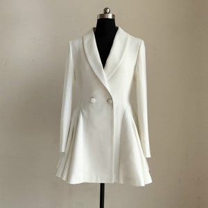 Thin Notched Collar Jacket Dress