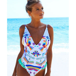 Printed sexy one piece swimsuit