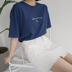 Cute Moon Embroidery Printed T Shirt