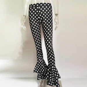 Polka Dot High Waist Flare Pants