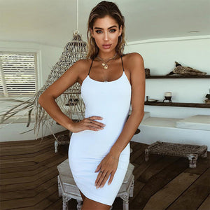 Sexy Sleeveless Cross Bandage Bodycon Dress