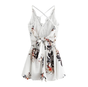 Women's Sexy Backless Bow Tie Casual Sleeveless playsuit