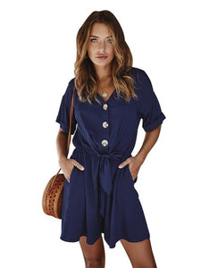 Button Casual Wide Leg  Playsuit