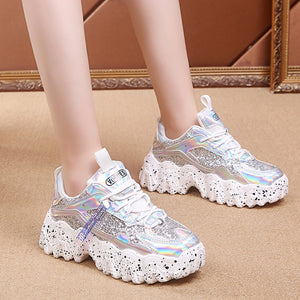 Comfortable Glossy  Wave Bottom Shoes