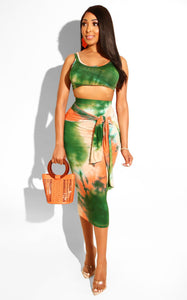 Tie Dye Crop Top and Midi Skirt Set