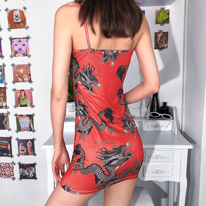 Hot sexy casual Dragon sleeveless bodycon dress