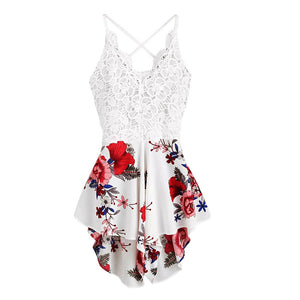 Floral Print Sexy Short Overalls Playsuit