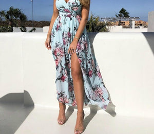 Women's V-Neck Split Floral Print Dress