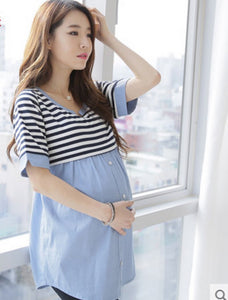 Thin Strip Patchwork Maternity Blouses