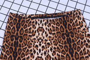 Leopard Pattern Printed Flare Pants