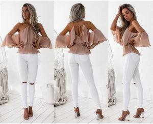 Sexy Off Shoulder Ruffles Top