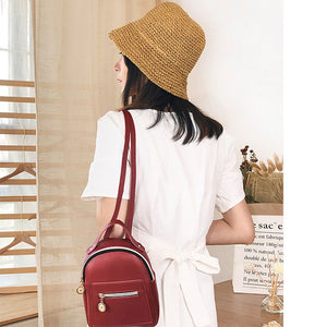 PU Leather Multi-Function Small Backpack