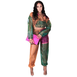 Patchwork Mesh Tracksuit 2 Piece Set