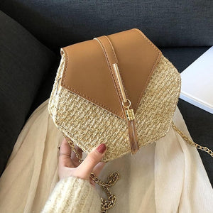 Straw+PU  Leather Shoulder Bag
