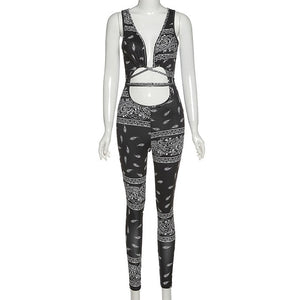 Front Hollow Out Bandage Jumpsuit