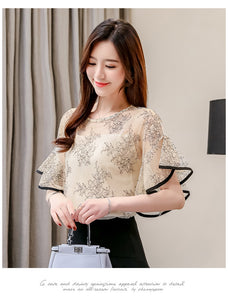 Lace Shorts Sleeve Blouse
