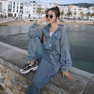 Long Sleeve Hooded Cargo Jeans Overalls