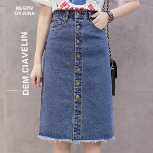 High Waist Fray Hem Jeans Skirt