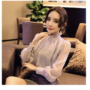 lace chiffon long sleeve tops and blouses