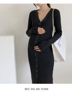 Maternity Knited Long Sleeve Sweater Dress