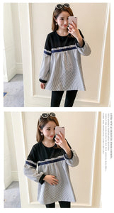 Patchwork Striped Loose Pregnancy Shirts Tops