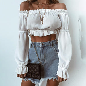 Chiffon Off Shoulder Crop Tops