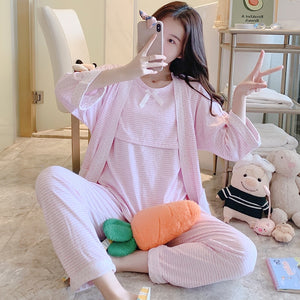 3PCS/set Pregnancy Breast Feeding Sleep Wear